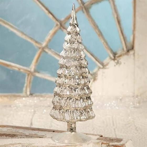 Bethany Lowe Designs 155-in Antique Silver Mercury Tree Indoor