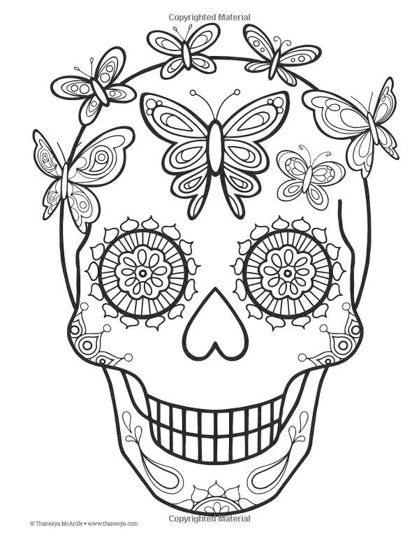 Day of the dead coloring book thaneeya mcardle for All souls day coloring pages