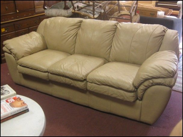 Light Tan Leather Sofa