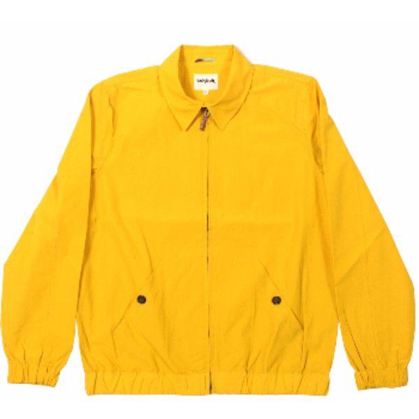 Santana Jacket Sunshine Yellow ($77) ❤ liked on Polyvore featuring men's fashion, men's clothing, men's outerwear, men's jackets, mens lightweight jacket, mens zip up jackets, mens leather flight jacket, mens summer jackets and mens light weight jackets