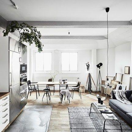 Piso peque o con paredes grises cocinas abiertas blog - Piso pequeno estilo nordico ...