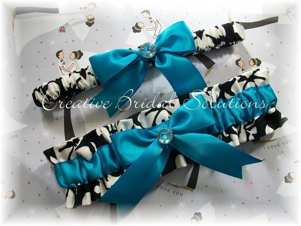 You Must Wear A Garter Black And White Damask With Turquoise Wedding Bridal Set