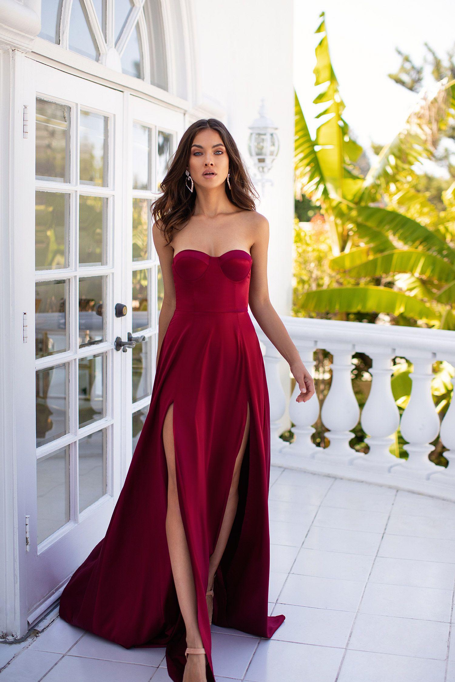 Rayna Deep Red Deep Red Dress Gowns Strapless Dress Formal [ 2250 x 1500 Pixel ]