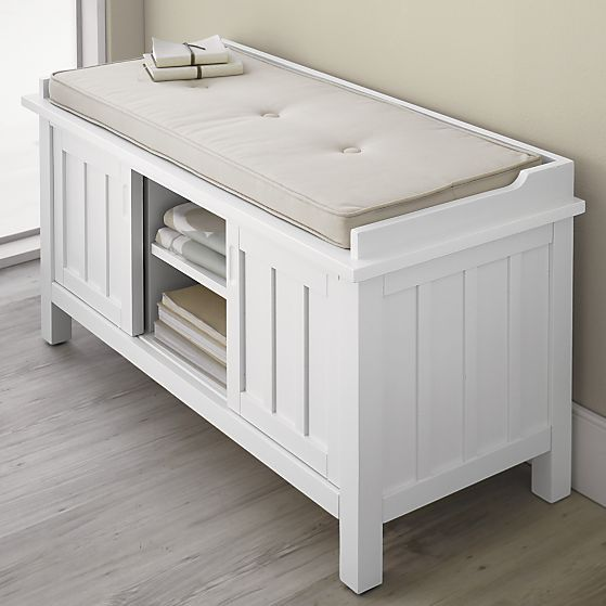 Brighton White Storage Bench With Natural Cushion In Entryway Benches |  Crate And Barrel