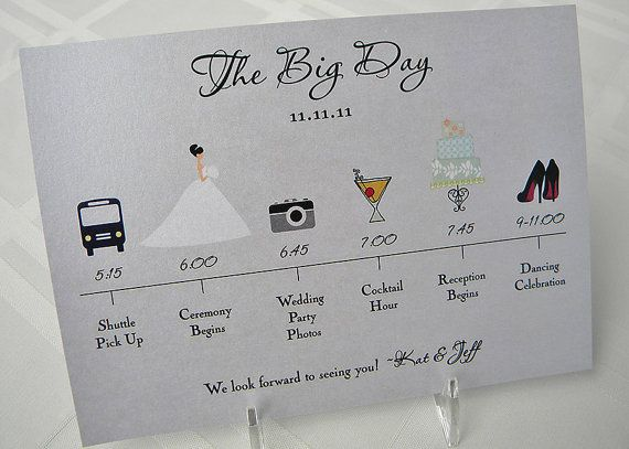 Wedding Timeline Cards For The Big Day  Wedding