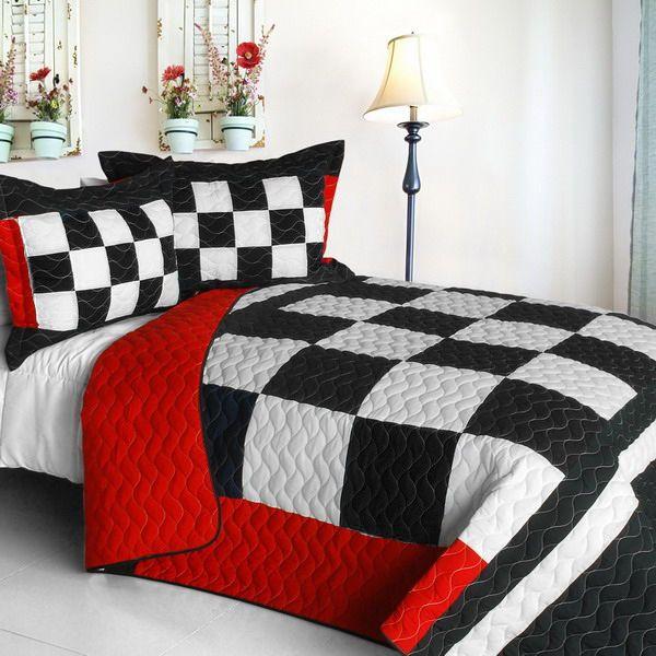 Checkered Flag Bedding Full/Queen Quilt Set Black White