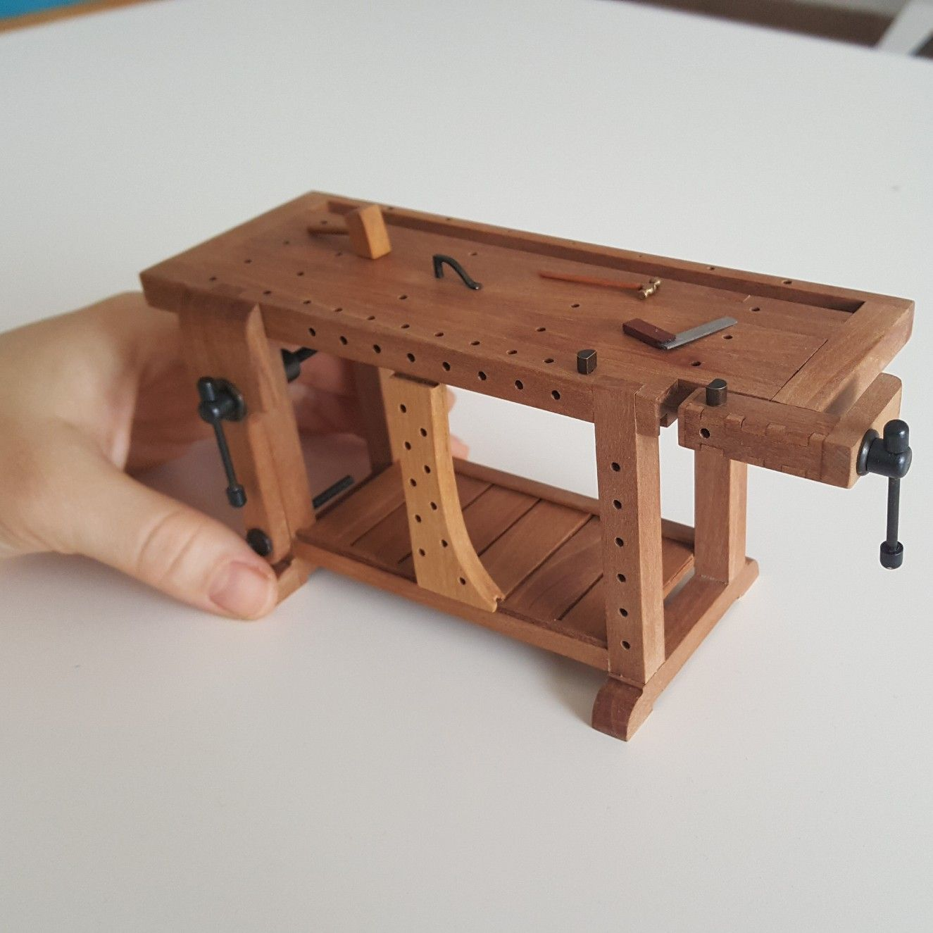 miniature dollhouse furniture woodworking. Miniature Roubo Bench, Scandinavian Workbench, Carpenter Table, Dollhouse, Furniture, Tool, Wise, Scale 1/12, Atelier, Workplace, Artisan Dollhouse Furniture Woodworking E