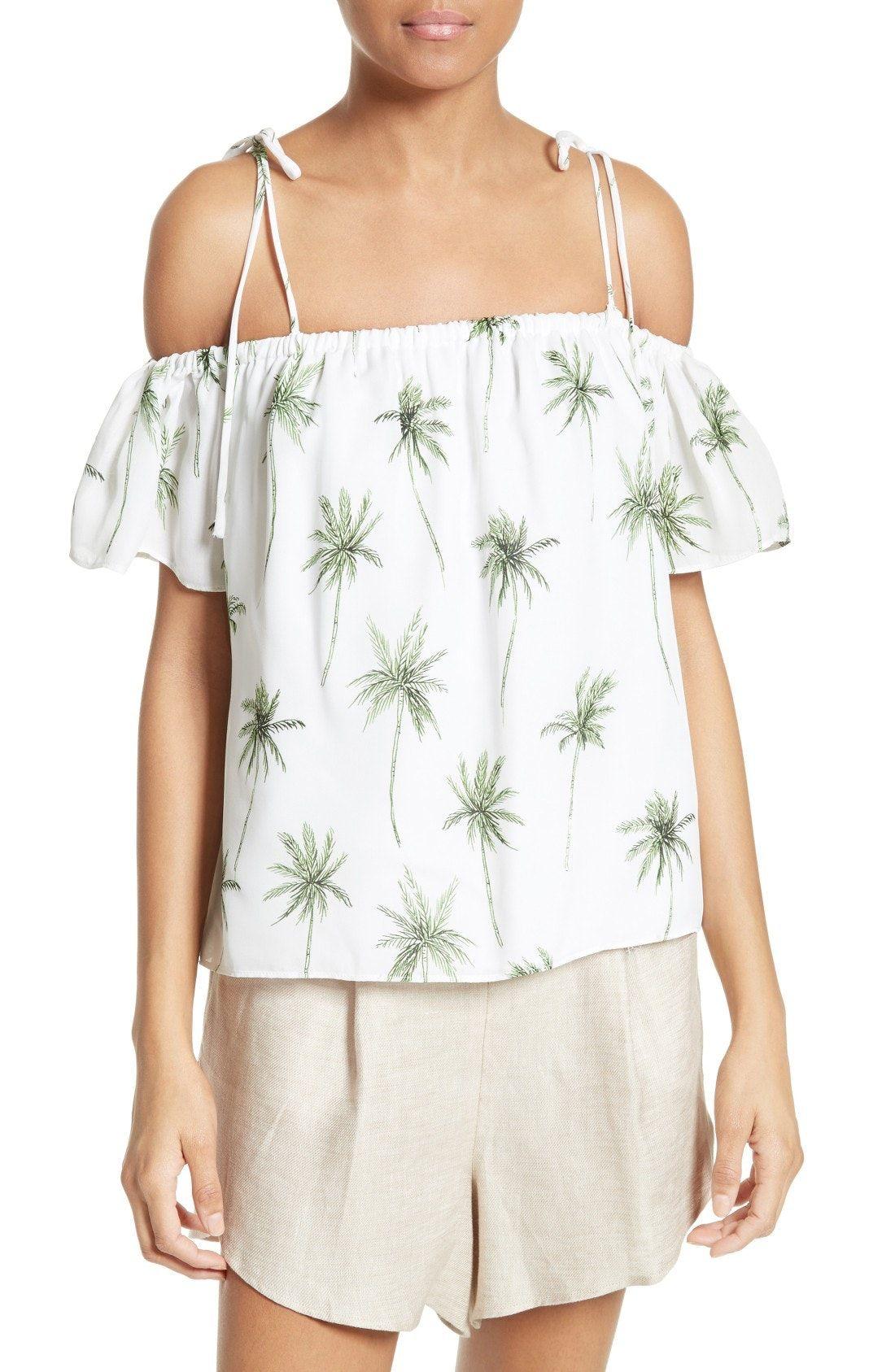 New Milly Eden Palm Tree Print Top Blue White Stripe Fashion  # Muebles Eden En Las Palmas
