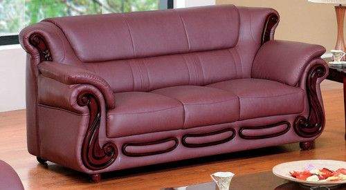 7981 Sofa Set Contemporary Leather Burgundy Modern Living Room Look Ebay Red Leather Sofa Sofa Set Wood Sofa
