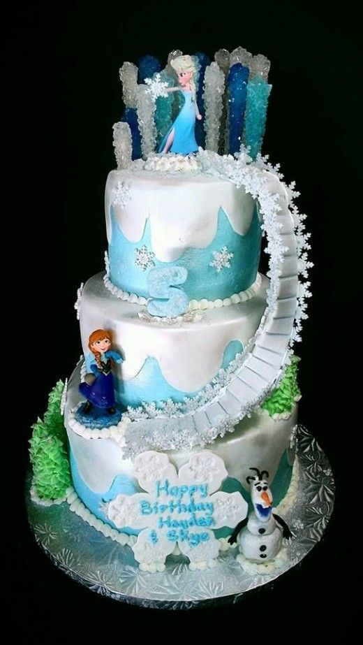 A Frozen themed birthday cake showcasing Elsas power frozen
