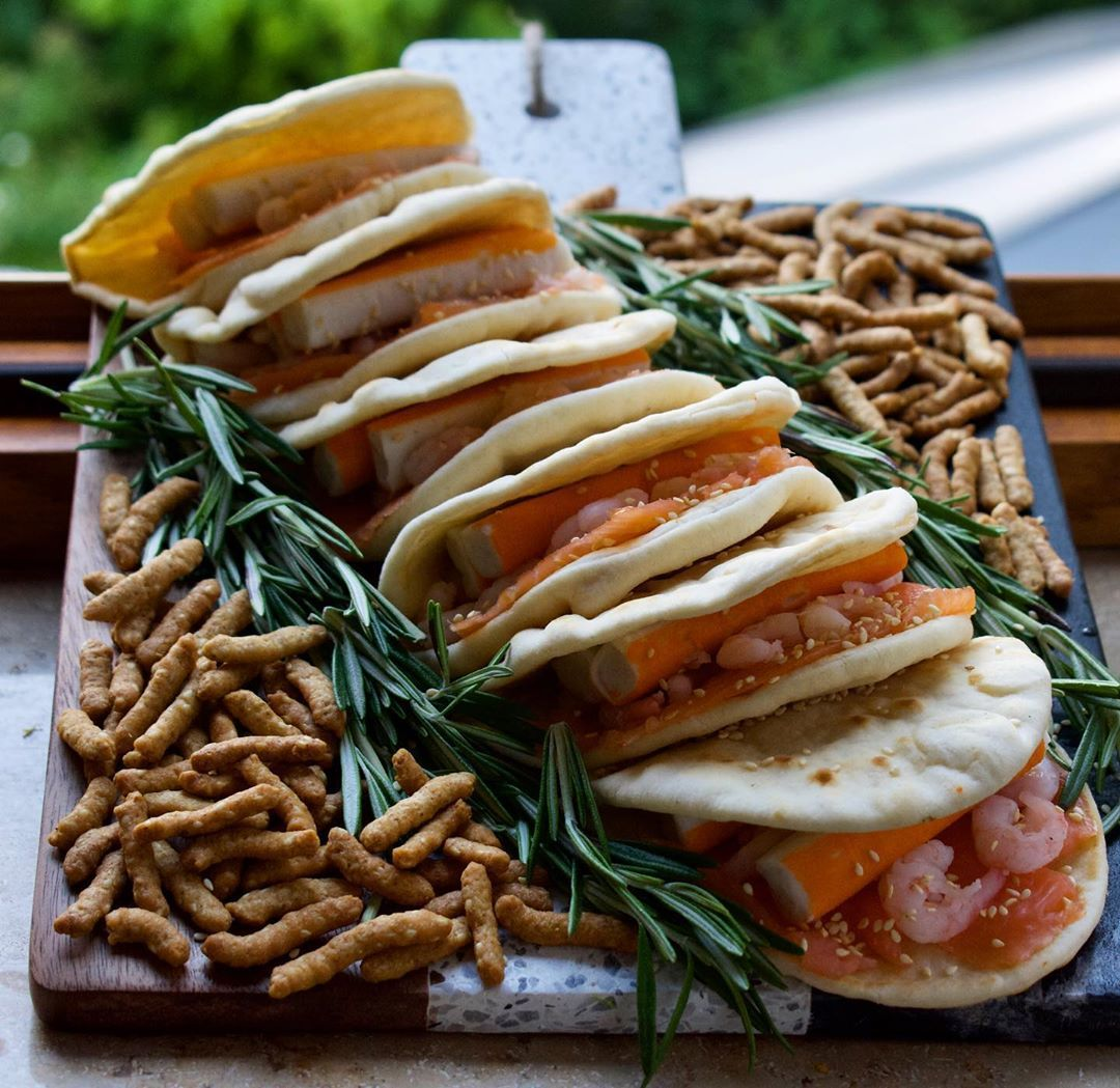 Flatbread filled with shrimp, salmon and crabmeat, with rosemary and sesame stick garnish.   #foodinsta #food #foodporn #foodphotography #foodstagram #foodie #foodiesofinstagram #foodblogger #foodpics #foodstylingandphotography #foodlover #foodforfoodies #foodinspiration #foodartist #foodies #foodphotos #foodielife #foodstyling #foodiegram #foodart #foodlove #foodaesthetic #eat #eats #nom #instafood #instafoodie #yummy #yum #foodstylist