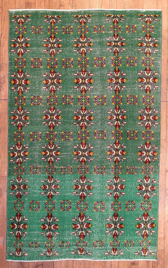 Vintage Emerald Floral Turkish Carpet Area Rug By