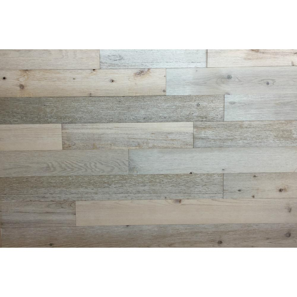 Timberchic 1 8 In X 3 In X 12 42 In Peel And Stick White Wooden Decorative Wall Paneling 10 Sq Ft Box 22310 The Home Depot Coastal White Wood Plank Walls Reclaimed Wood Wall Panels