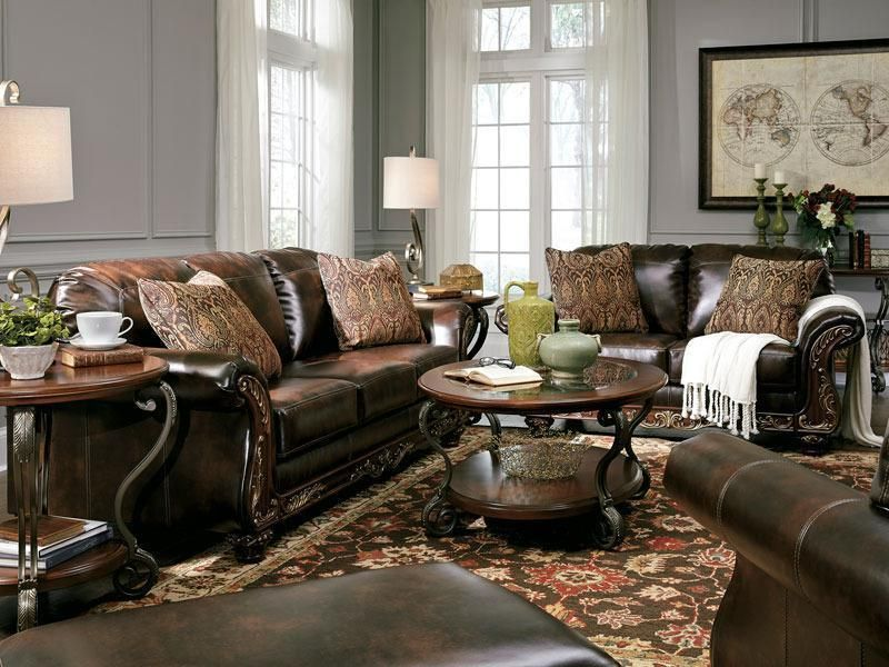 Best Charisma Traditional Brown Bonded Leather Sofa Couch Set 400 x 300
