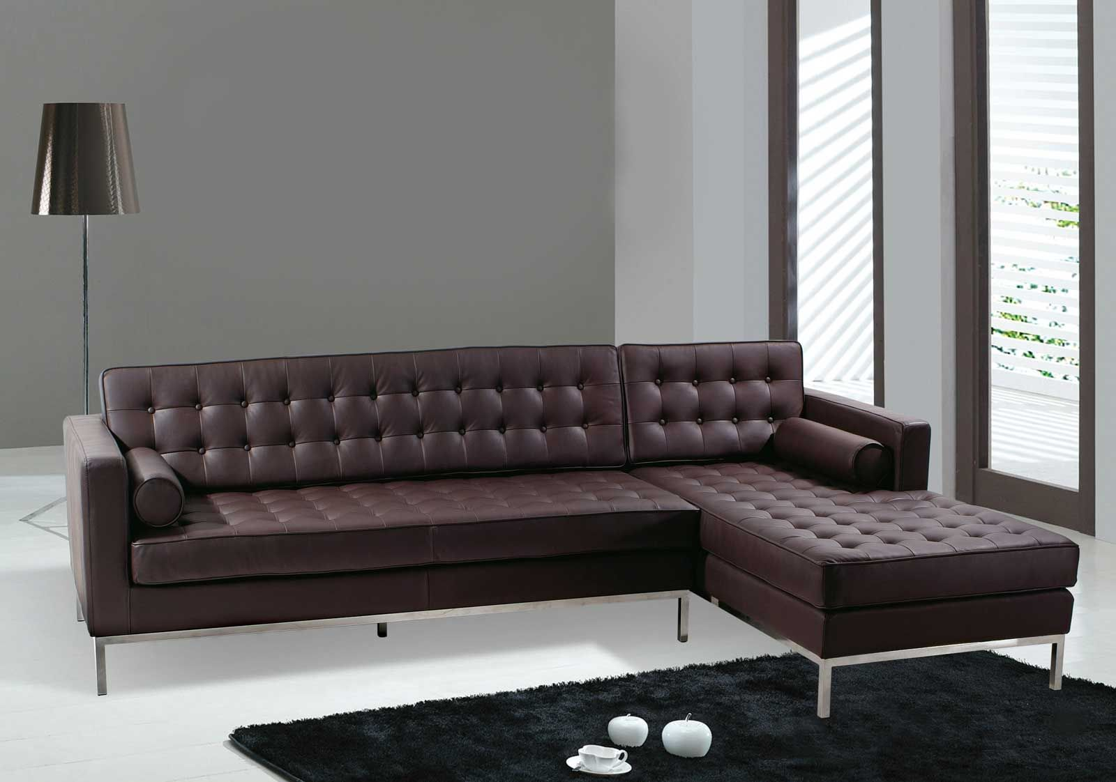 Modern elegant living room has a sofa that is big and beautiful and - Modern Dark Brown Sectional L Shaped Sofa Design Ideas For Living Room Furniture With Modern Metal
