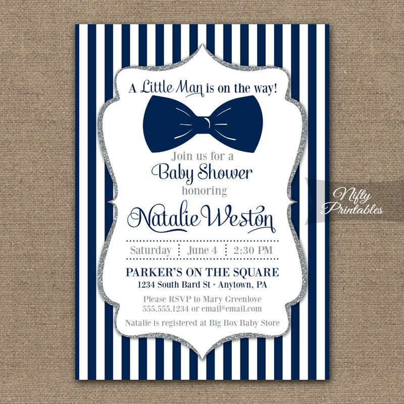 Mustache And Bow Tie Baby Shower Invitations Part - 15: Bow Tie Baby Shower Invitations Printable Navy By NiftyPrintables
