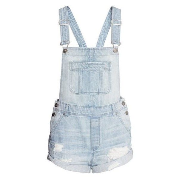 Denim Bib Overall Shorts $34.99 ❤ liked on Polyvore featuring shorts, ripped shorts, distressed shorts, destroyed shorts, torn shorts and bib overalls shorts