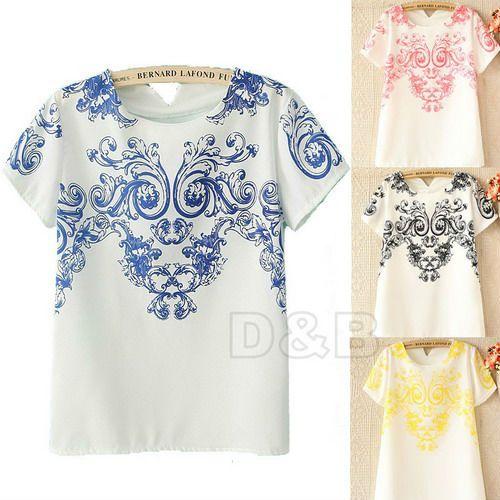 2014 New Vintage Trendy Symmetrical Blue and White Porcelain Print T Shirt Floral Pattern Back V-neck Chiffon T-Shirt Tops 80289 $6.95