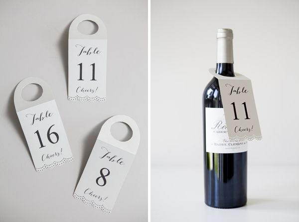 How to make FREE wine bottle table number - hang tags! Table - free wine bottle label templates