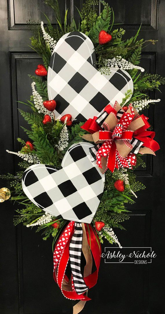 Double Black Buffalo Check Heart with RED Swag Wreath