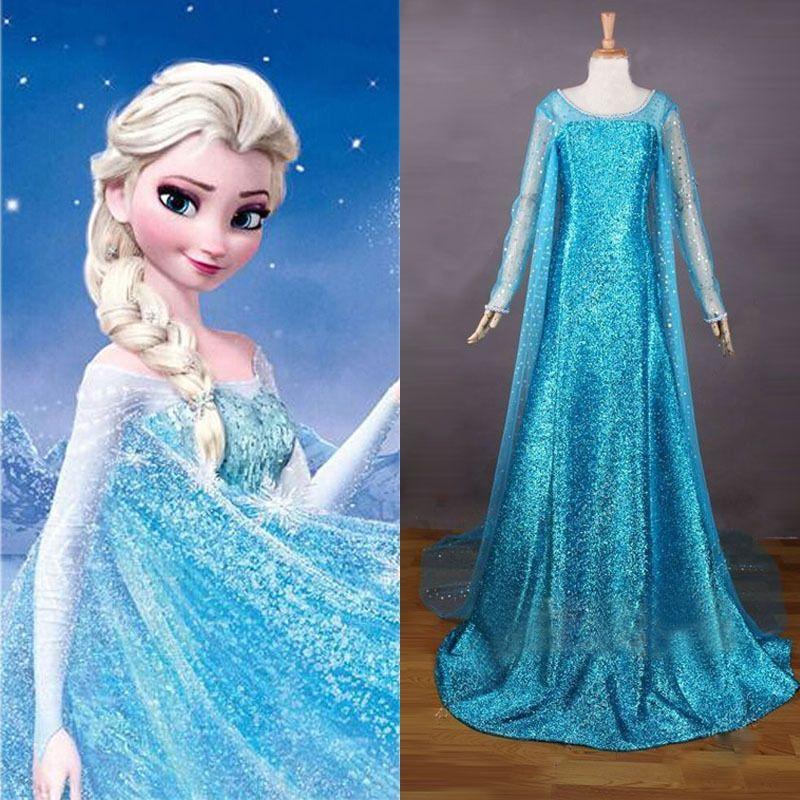 Elsa Frozen Snow Queen Blue Adult Cosplay Costume Fancy Dress Christmas UK