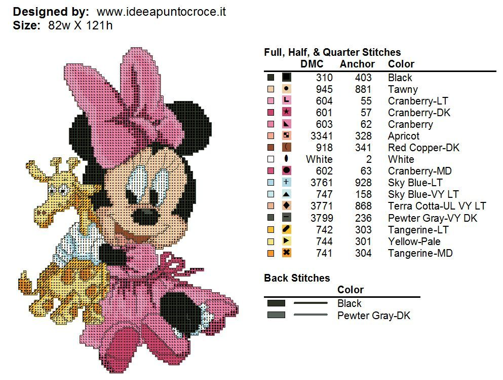 BABY MINNIE MOUSE WITH A TOY GIRAFFE - CROSS STITCH PATTERN 2/2 ...