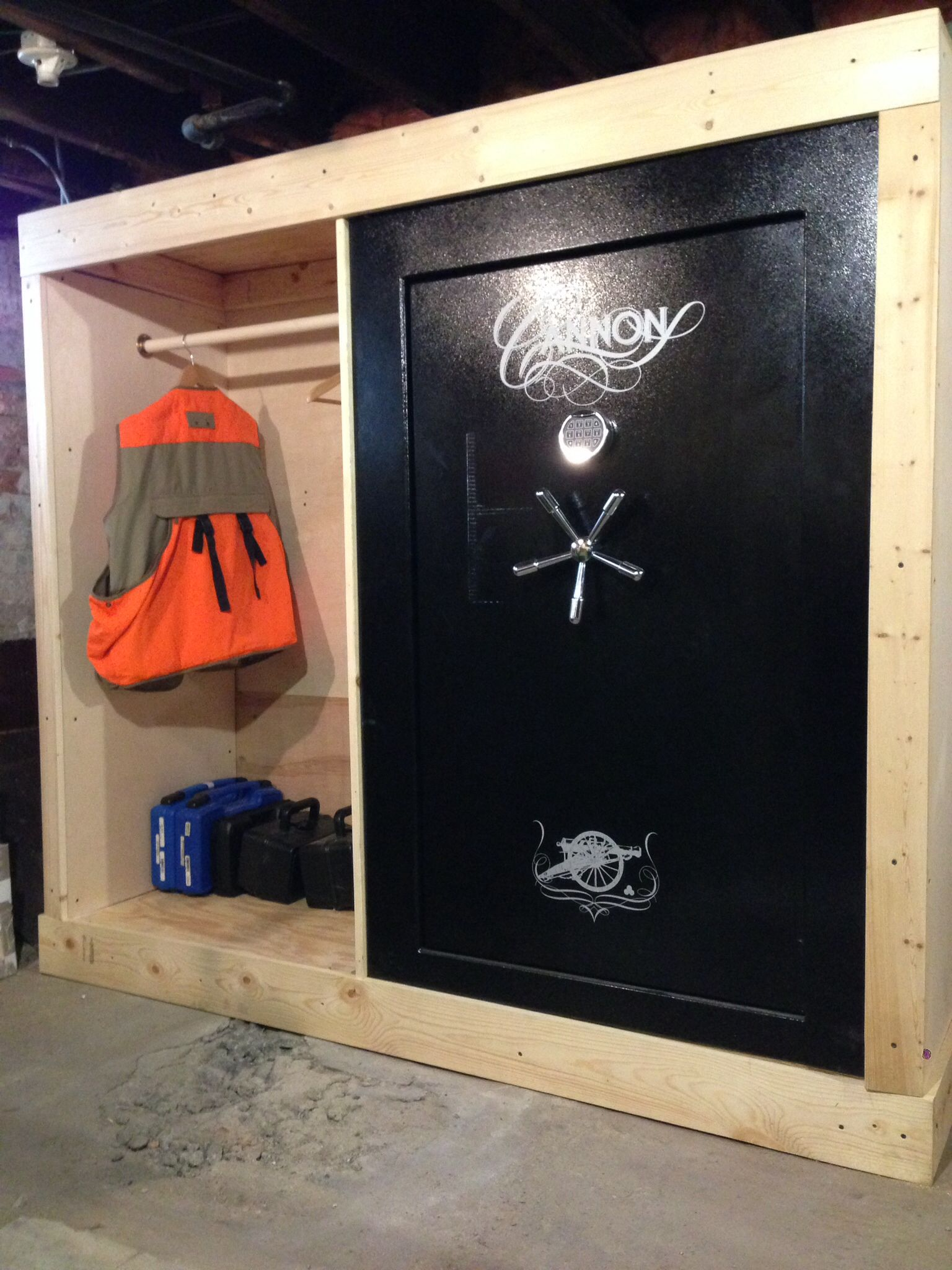 Built in gun safe with storage cool stuff pinterest for Garage safe room