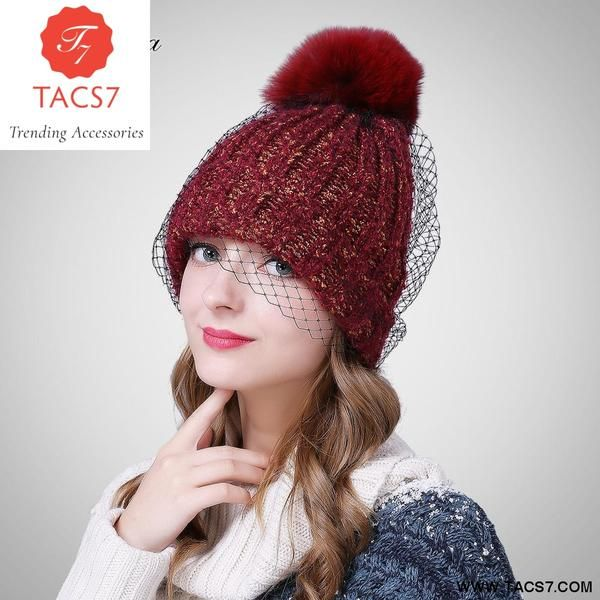 6f342ed6e3a Female Autumn Winter Knitted Caps Fox Fur Pom Poms Keep Warm Beanie Hats  For Women Trending