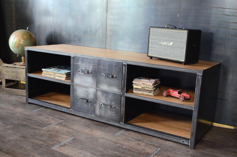 Meuble Tv Industriel Bois Ma C Tal Micheli Design Meuble Rangement Mobilier De Salon Meuble De Style