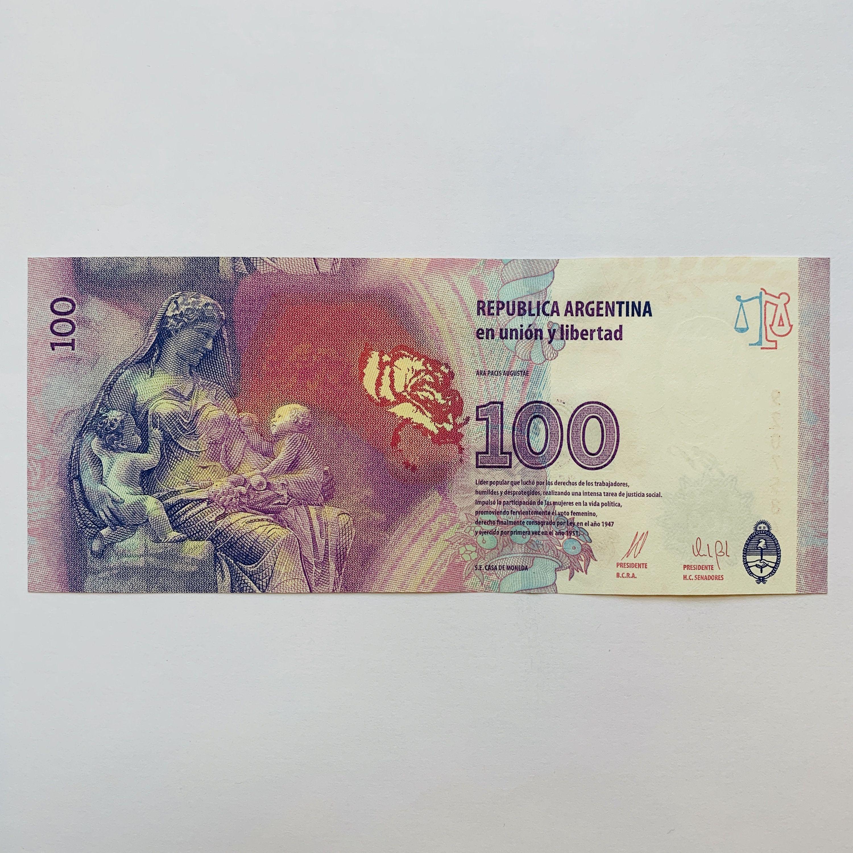 Eva Peron Argentina Evita 100 Pesos Banknote Argentinian Etsy In 2020 Bank Notes National Symbols Argentina