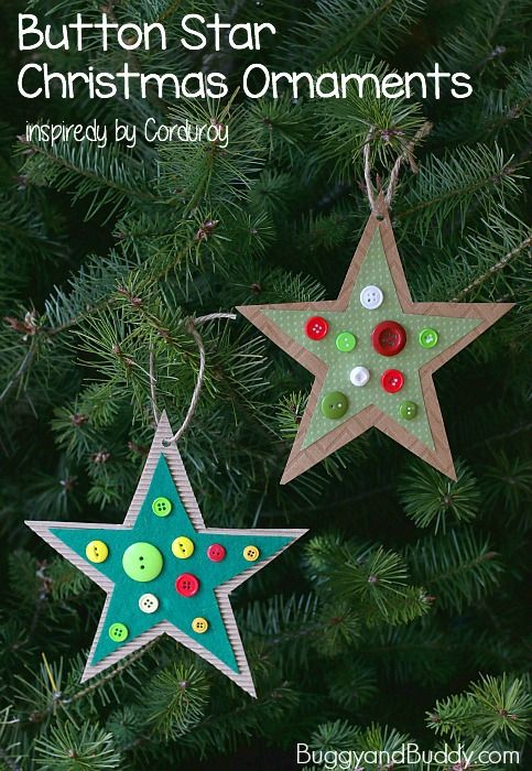 Button Star Christmas Ornament Craft For Kids Inspired By Corduroy Buggy And Buddy Christmas Ornament Crafts Handmade Christmas Decorations Christmas Crafts To Make