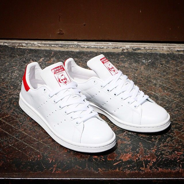 white and red stan smiths