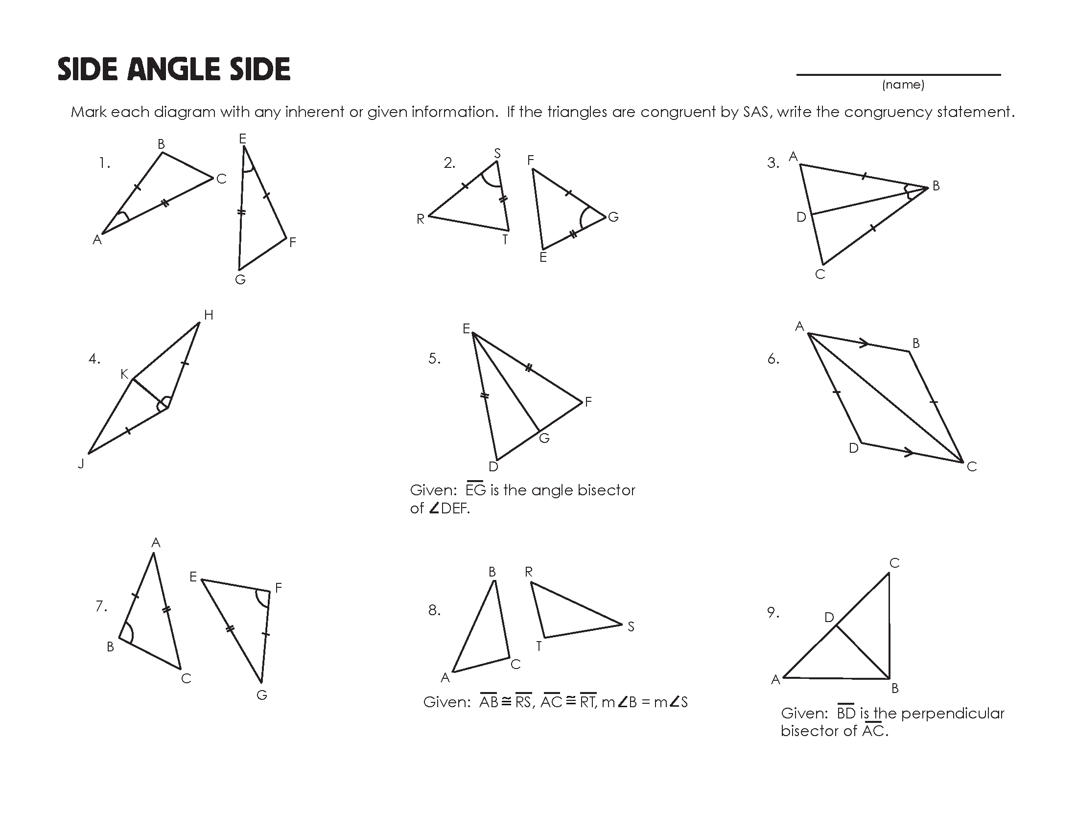 Congruent Triangles Worksheet – Constructing Triangles Worksheet
