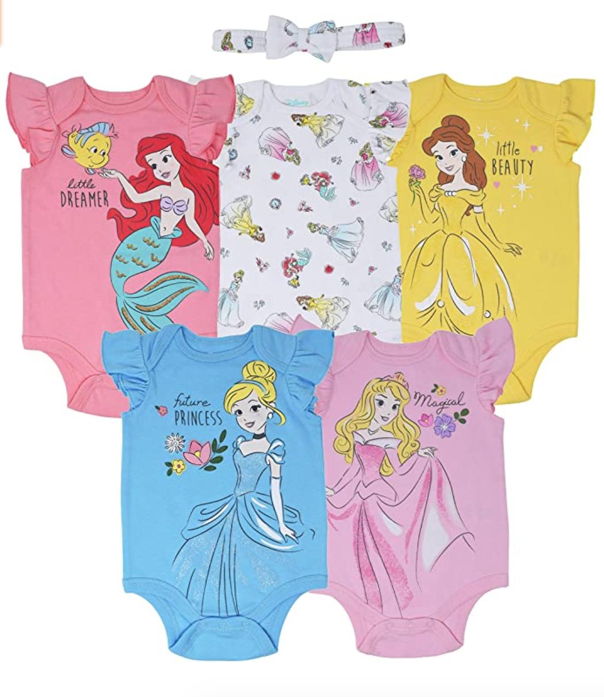 Disney Princess Baby Girls 5 Pack Bodysuits Onesies And Bow In 2020 Disney Princess Baby Clothes Disney Princess Babies Baby Princess