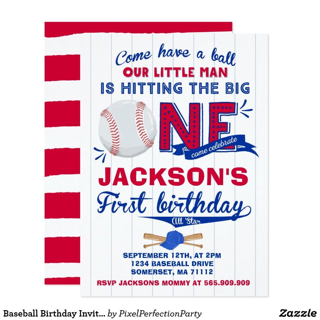 Baseball Birthday Invitation Baseball 1st Birthday   { Happy ...