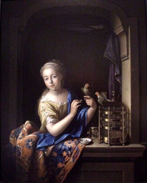 Pieter Van der Werff  Young Girl at the Window with a Parrot  Late 17th - early 18th century