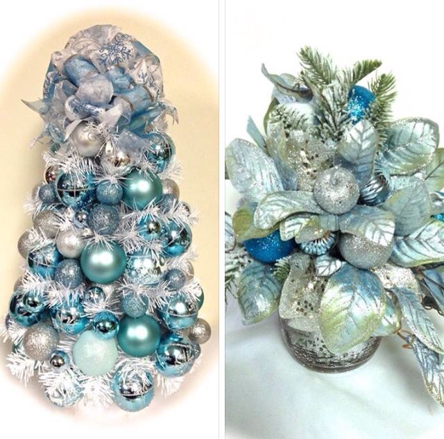 """Turquoise And White Christmas Tree: 24"""" Light Turquoise Sea Foam Green & Silver White"""