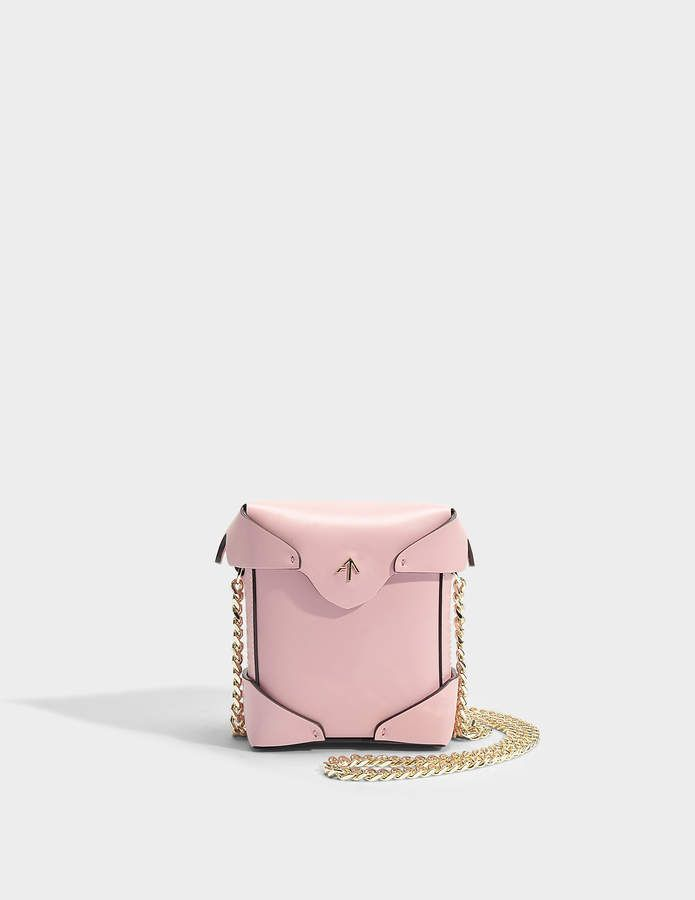 Micro Pristine Bag with Chain Strap in Bubblegum Vegetable Tanned Calfskin Manu Atelier Tgpa984FN