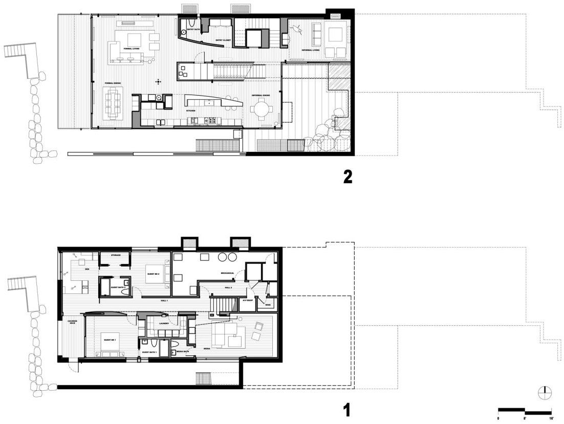 Exceptional Slope Home Plans #5: Courtyard House On A Steep Site (22)
