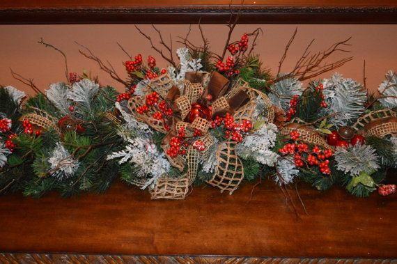 Rustic Garland Rustic Mantle Garland By Thebloomingwreath On Etsy Mantle Garland Rustic Mantle Rustic Christmas