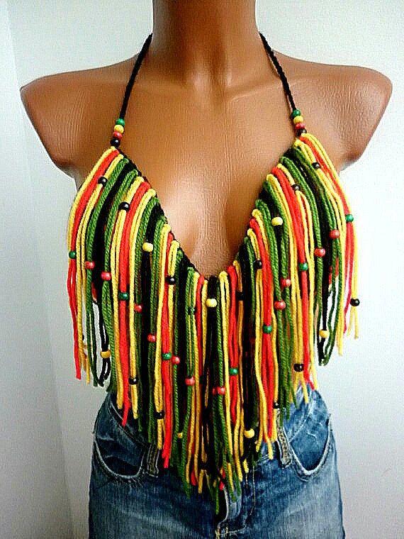 Crochet Crop top RASTA CROCHET Crop Top Boho Hippie Fringed RASTA Crochet Top Crochet Halter Top Halter Hippie Fringes Yoga Nude