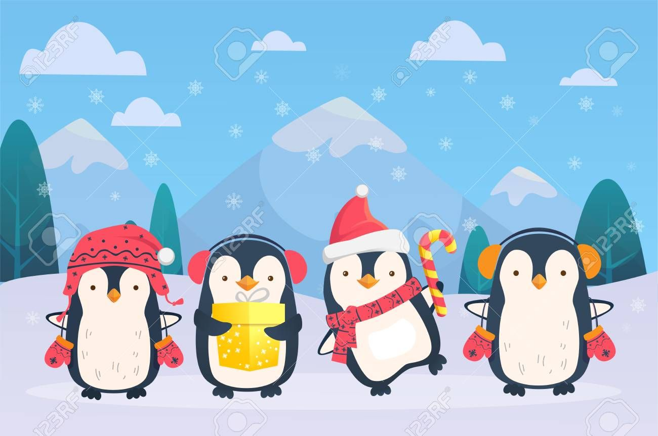 Christmas Penguins On Snowy Background Cute Penguins Cartoon Illustration Stock Photo Ad Snowy Penguin Cartoon Cute Penguin Cartoon Cartoon Illustration