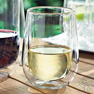 $22.90-$25.19 Steady-Temp Double Wall Chardonnay/Chablis Stemless Wine Glasses -Set of 2 - Keep cool drinks cool  hot drinks hot.   Cheers to this glassware for pulling double duty! Its unique mouth-blown  double-wall design provides extra insulation  so your Chardonnay or Chablis stays at its proper serving temperature regardless of how long you've held the glass. It also creates a 'suspended'  ...