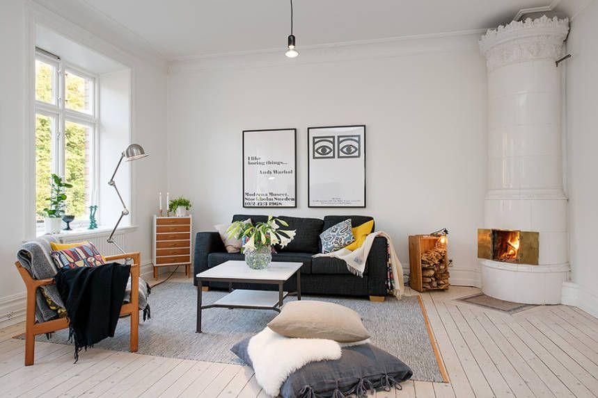 Living room: Björk light grey wool rug by Lena Bergström for Design House Stockholm. From indiedays.