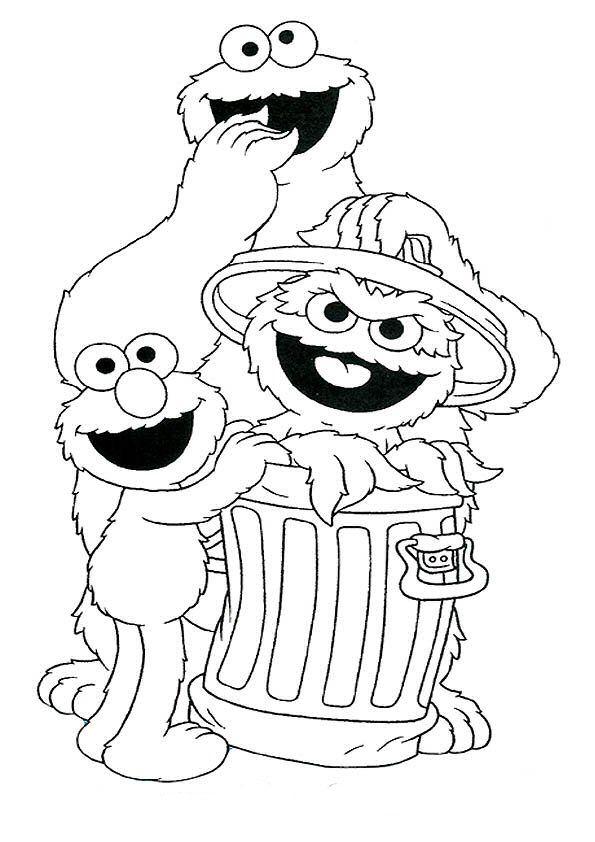 Kleurplaten Kerst Sesamstraat.Print Koekiemonster Oscar En Elmo Kleurplaat Otrisovki