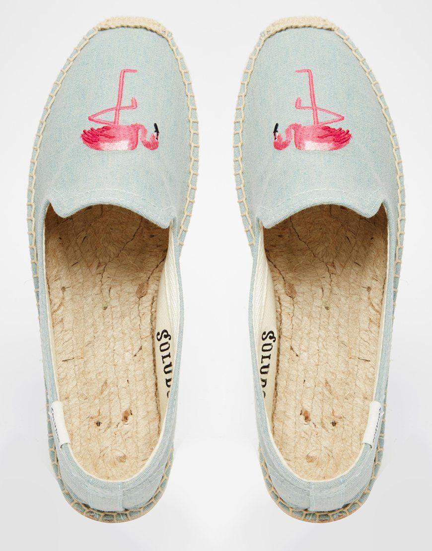 Soludos – Flache Espadrille-Schuhe mit Flamingo-Stickerei