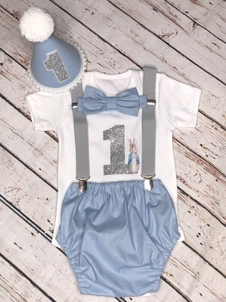 Peter Rabbit 1 Birthday Baby Boy Outfit Handmade Baby