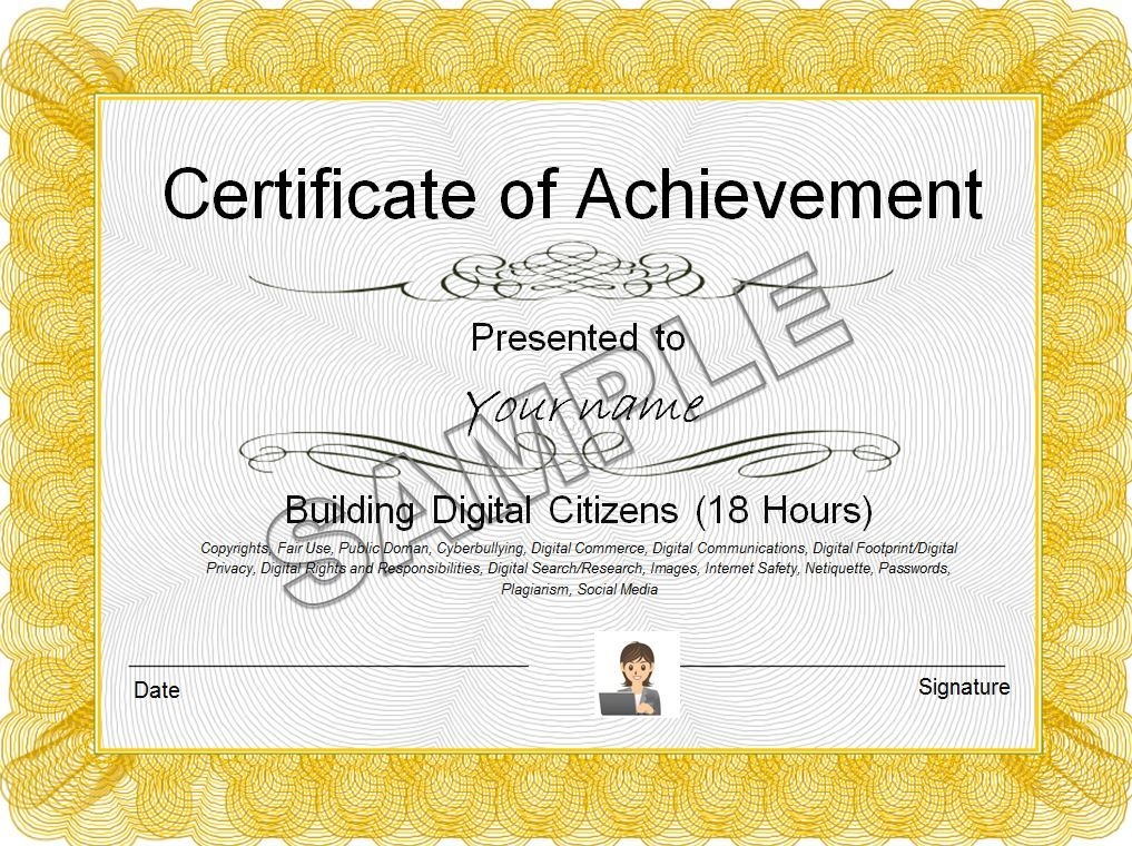 Certificate sample Digital Literacy Pinterest Digital - certificate sample