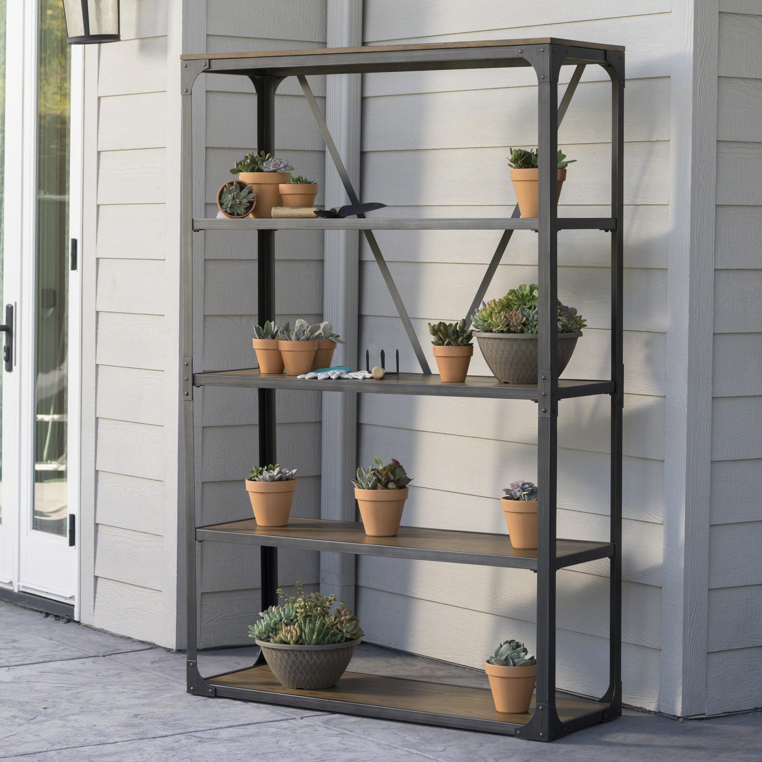 lowell outdoor industrial wood 5 shelf cabinet by christopher knight
