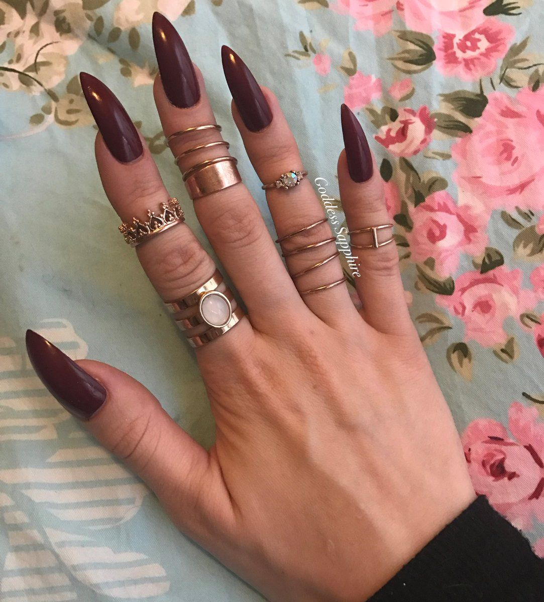 Dark Red Stiletto Nails With Images Red Stiletto Nails
